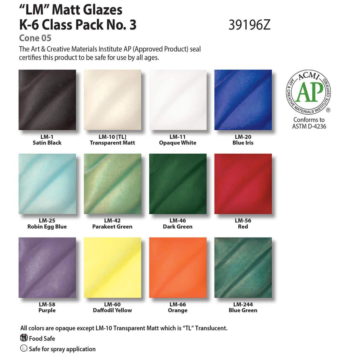 Class Pack (LM) Low Fire Matt No. 3, 12 Pints